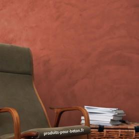 Béton ciré mural rouge vénitien