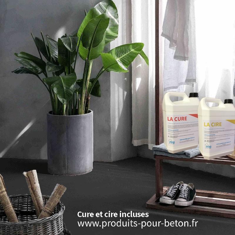 kit b ton cir sur dalle b ton pleine masse gris anthracite. Black Bedroom Furniture Sets. Home Design Ideas